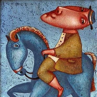 """Картины и панно ручной работы. Ярмарка Мастеров - ручная работа """"Верхом на синей лошадке 2"""", авторская печать.. Handmade."""