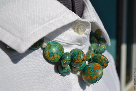 """Колье, бусы ручной работы. Ярмарка Мастеров - ручная работа. Купить Ожерелье """"Мозаика"""". Handmade. Бусы из камней, ожерелье из жемчуга"""