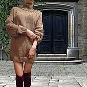 Одежда ручной работы. Ярмарка Мастеров - ручная работа Вязаное платье-свитер оверсайз Капучино. Handmade.
