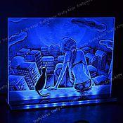 Картины и панно ручной работы. Ярмарка Мастеров - ручная работа Вечер на крыше Картина с подсветкой. Handmade.