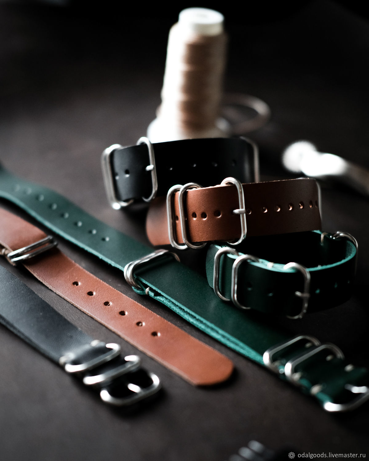 Men's leather watchband (NATO strap) in three colors, Watch Straps, St. Petersburg,  Фото №1