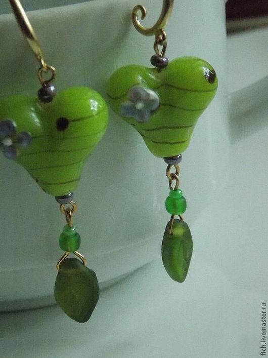 Серьги ручной работы. Ярмарка Мастеров - ручная работа. Купить Серьги Мое зеленое лето. Handmade. Зеленый, позолоченные серьги