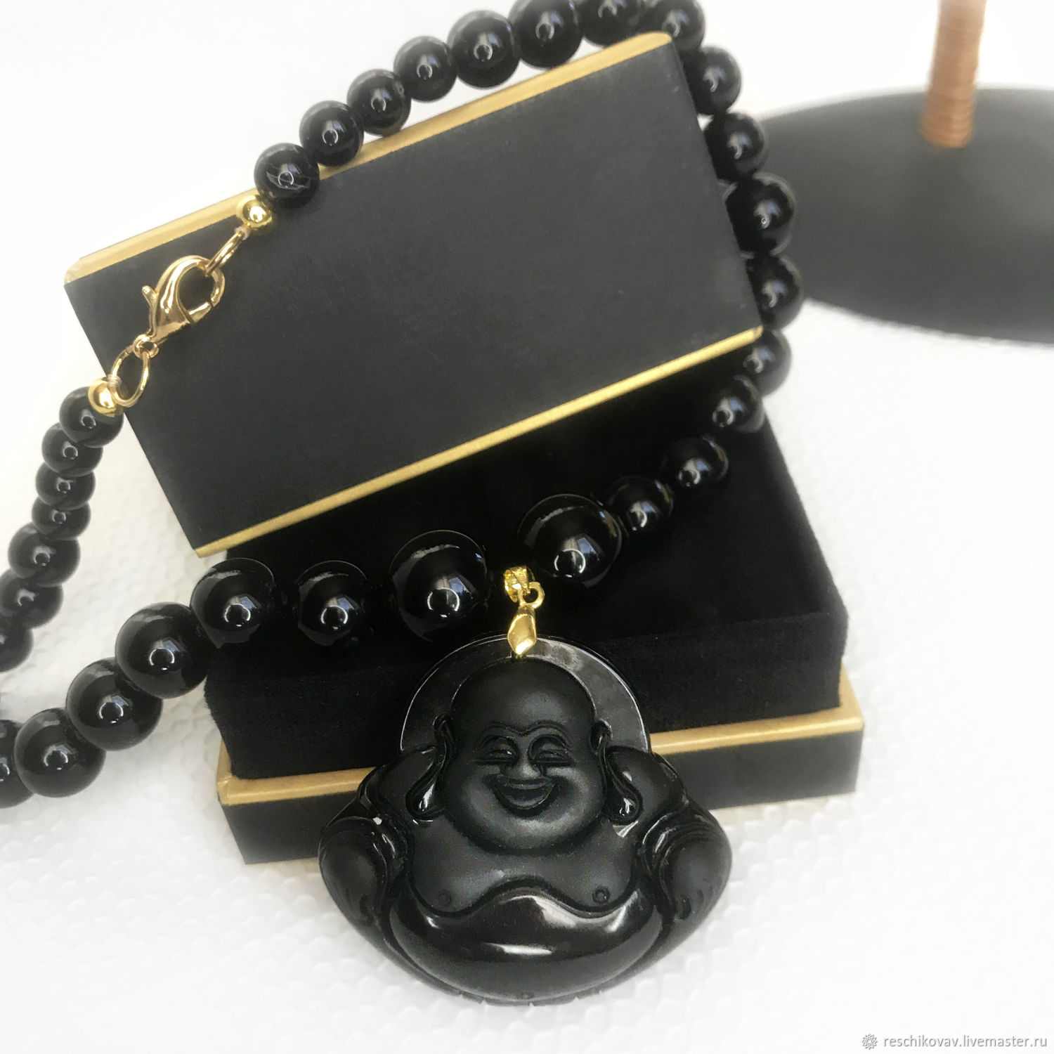 Magic of the East beads made of black agate with a cheerful Buddha, Beads2, Moscow,  Фото №1