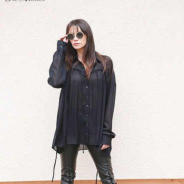 Одежда ручной работы. Ярмарка Мастеров - ручная работа Экстравагантная черная рубашка/Стильная рубашка/F1628. Handmade.