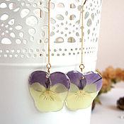 Украшения handmade. Livemaster - original item Broach Earrings Real Flowers Pansies Korean Accessories. Handmade.