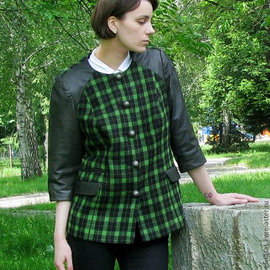 Пиджаки, жакеты ручной работы. Ярмарка Мастеров - ручная работа. Купить Жакет клетчатый с натуральной кожей. Handmade. Тёмно-зелёный