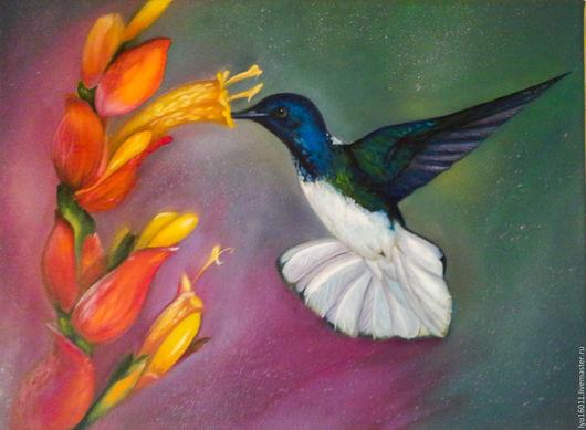 Картины цветов ручной работы. Ярмарка Мастеров - ручная работа. Купить Колибри. Handmade. Сиреневый, цветы, цветочный, масляные краски