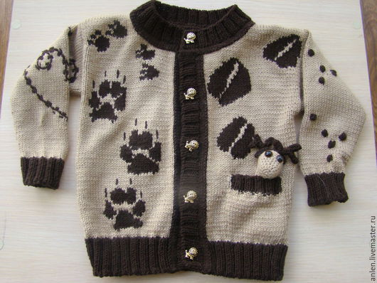 """Одежда для мальчиков, ручной работы. Ярмарка Мастеров - ручная работа. Купить Жакет для малыша """"Чьи следы"""". Handmade. Коричневый, бамбук"""