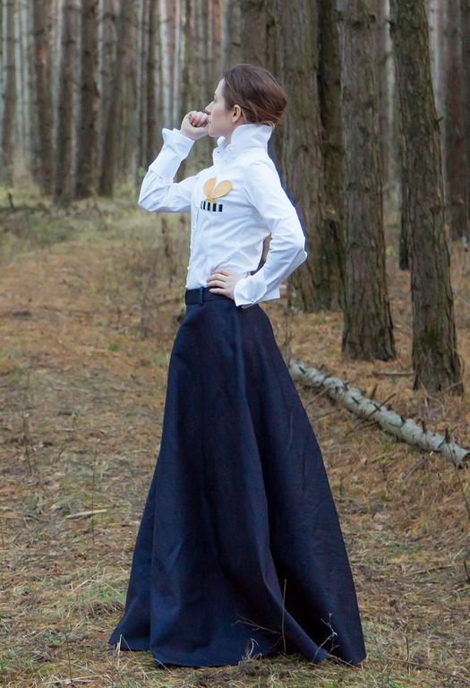 Джинсовая длинная юбка с доставкой