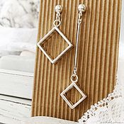 Украшения handmade. Livemaster - original item Asymmetric earrings diamonds for every day light, long. Handmade.
