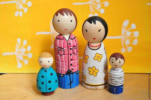 Вальдорфская игрушка ручной работы. Ярмарка Мастеров - ручная работа. Купить Семья куколок. Handmade. Разноцветный, деревянные игрушки, миниатюра