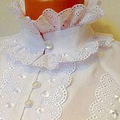 Одежда handmade. Livemaster - original item Diana blouse XS../ Cotton, white poplin. Handmade.