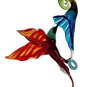 Для дома и интерьера ручной работы. Ярмарка Мастеров - ручная работа Интерьерное подвесное украшение из цветного стекла птица Колибри Lill. Handmade.