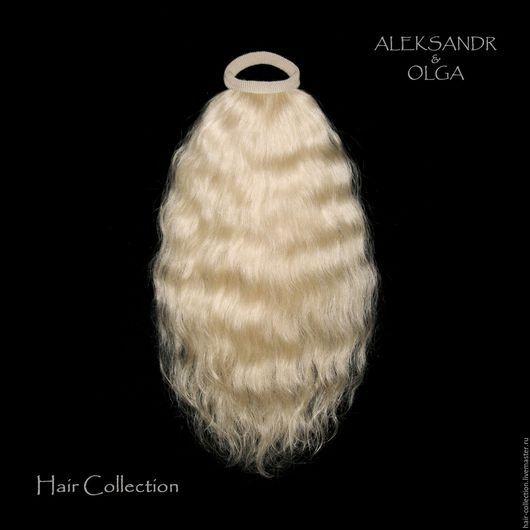 Лёгкий ХВОСТ на резинке - постиж, светлый блонд (из натуральных славянских волос)