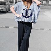 Одежда handmade. Livemaster - original item Stylish striped blouse with Anchor print - TP0450TR. Handmade.