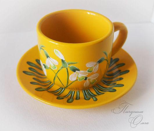 """Сервизы, чайные пары ручной работы. Ярмарка Мастеров - ручная работа. Купить Чайная пара """"Подснежники"""" желтая. Handmade. Желтый"""