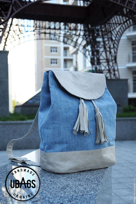Рюкзаки ручной работы. Ярмарка Мастеров - ручная работа. Купить Женский рюкзак. Handmade. Голубой, рюкзачок, рюкзак из кожи, джинс