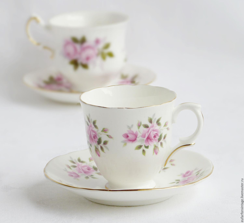 """Винтаж: Миниатюрная экспрессо пара """"Розовые розы"""", Crown, Англия, Винтажные кружки, Бохольт, Фото №1"""