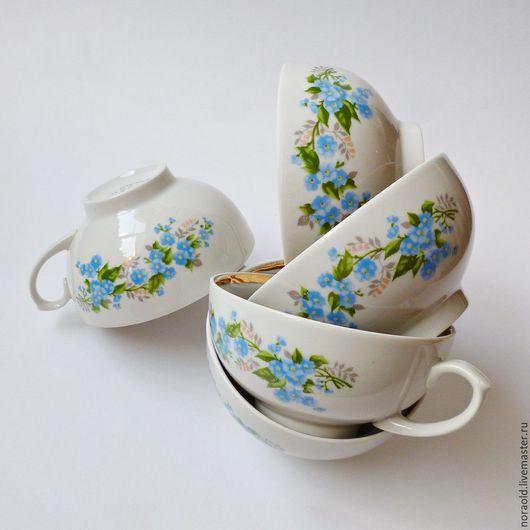 Дулево 90й год фарфор незабудки чашки чайдные винтаж СССР ретро сервировка стола для кухни советский фарфор для чаепития