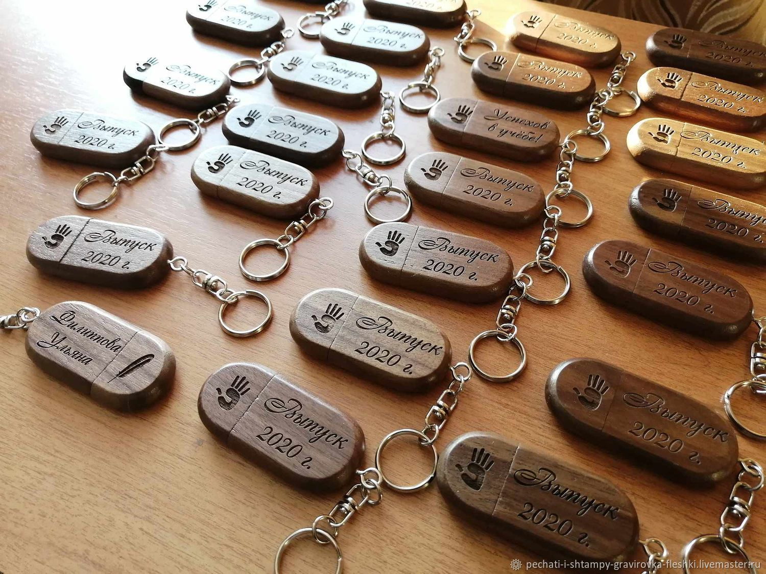 Wooden USB flash drive with engraving, key chain with ring, a gift from the tree, Flash drives, Barnaul,  Фото №1