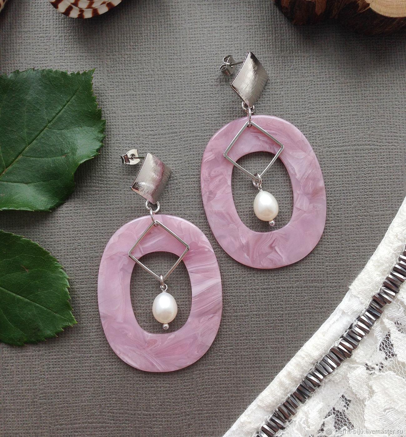 Earrings geometry 'Pink style' plastic, Earrings, St. Petersburg,  Фото №1