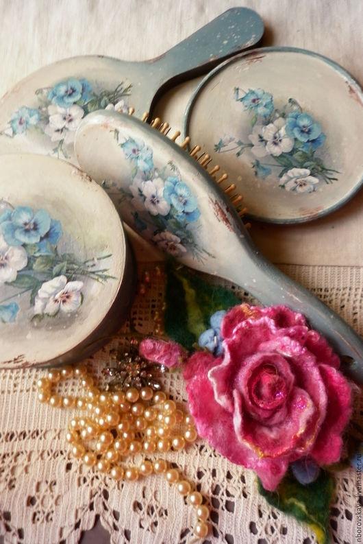 Ванная комната ручной работы. Ярмарка Мастеров - ручная работа. Купить Комплект аксессуаров для туалетного столика Винтажные цветы голубой. Handmade.