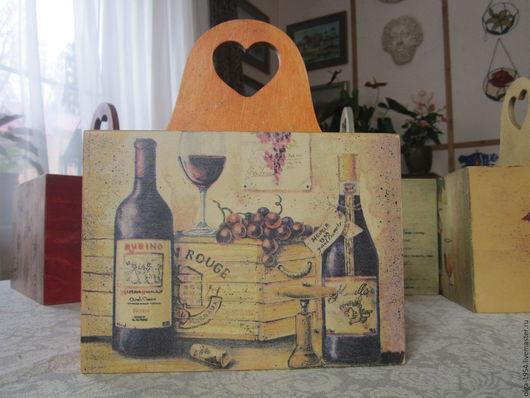 """Корзины, коробы ручной работы. Ярмарка Мастеров - ручная работа. Купить Короб деревянный для вина """"Уменье пить не всем дано"""". Handmade."""