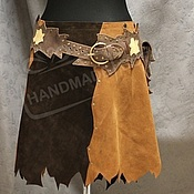 Одежда handmade. Livemaster - original item Skirt suede Combi Chocolate brown with rough edges. Handmade.