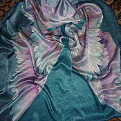 """Аксессуары ручной работы. Ярмарка Мастеров - ручная работа Батик шарф""""Изумрудные крылья"""",натуральный шёлк , атлас 190-40см.. Handmade."""