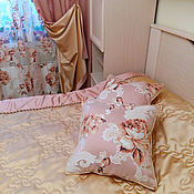 Для дома и интерьера handmade. Livemaster - original item Curtains for bedroom from bilateral satin and tulle with flowers. Handmade.