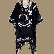 Одежда ручной работы. Ярмарка Мастеров - ручная работа Черное пончо туника платье, батик гекон, свободный летний. Handmade.