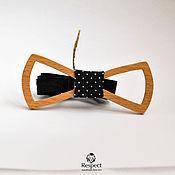 Аксессуары handmade. Livemaster - original item Wooden butterfly tie Audrey Eyre beech / tie black peas. Handmade.
