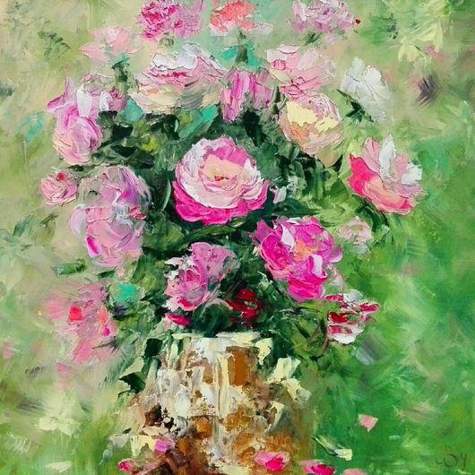 Картины цветов ручной работы. Ярмарка Мастеров - ручная работа. Купить Розовые розы. Handmade. Букет, розы, масло