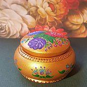 Для дома и интерьера ручной работы. Ярмарка Мастеров - ручная работа Круглая цветочная шкатулка для украшений шкатулка для мелочей. Handmade.