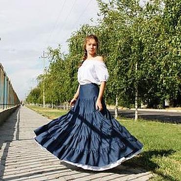 """Одежда ручной работы. Ярмарка Мастеров - ручная работа Джинсовая на кокетке """"Стелла"""" юбка, многоярусная,летняя. Handmade."""