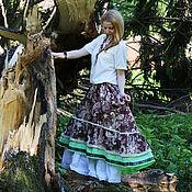 Одежда ручной работы. Ярмарка Мастеров - ручная работа Льняная бохо юбка. Handmade.