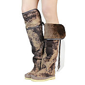 Обувь ручной работы handmade. Livemaster - original item Winter boots-boots the sheepskin HESSIAN bots, nubuk (brown). Handmade.