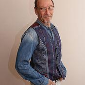 Одежда ручной работы. Ярмарка Мастеров - ручная работа жилет валяный синий. Handmade.