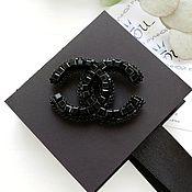 Брошь-булавка ручной работы. Ярмарка Мастеров - ручная работа Брошь Шанель черная.  Черная брошь из бисера. Handmade.