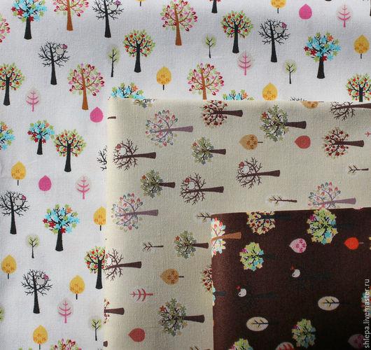 Шитье ручной работы. Ярмарка Мастеров - ручная работа. Купить Ткань для пэчворка Деревья (Minimized). Handmade. Бежевый, ткань хлопок
