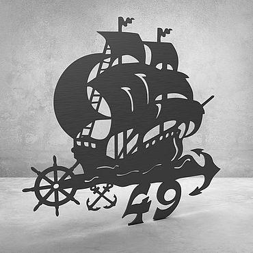 """Для дома и интерьера ручной работы. Ярмарка Мастеров - ручная работа Номерок на дверь """"Ship"""". Handmade."""