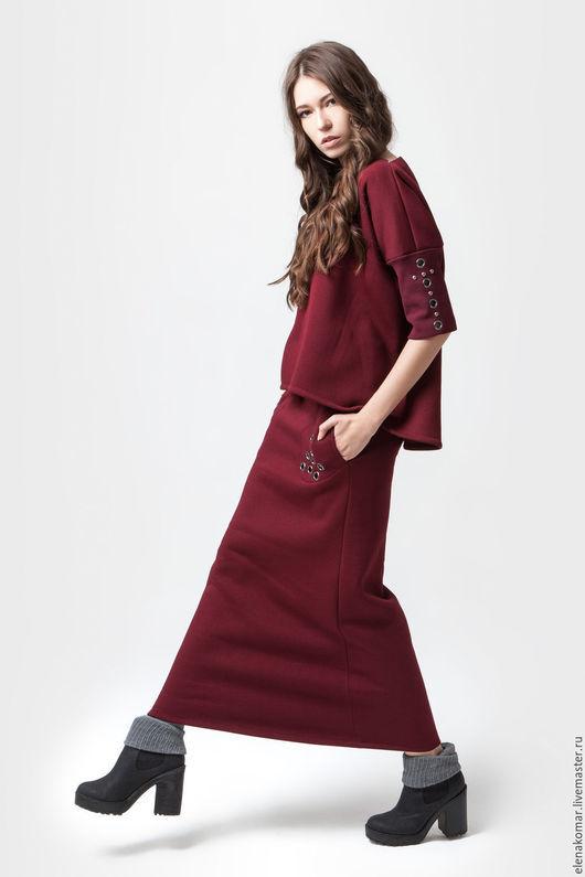 Костюмы ручной работы. Ярмарка Мастеров - ручная работа. Купить Костюм бордовый теплый юбка и свитшот. Handmade. Бордовый