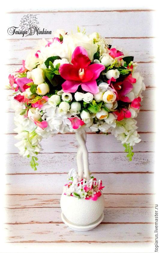 """Топиарии ручной работы. Ярмарка Мастеров - ручная работа. Купить Топиарий, интерьерное дерево счастья """"Миледи""""!. Handmade. Розы"""