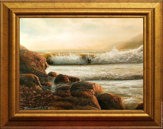 Пейзаж ручной работы. Ярмарка Мастеров - ручная работа. Купить Бурное море-3.море.картина с морем.картина маслом.. Handmade.