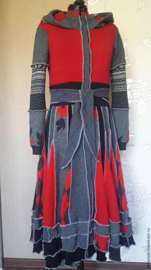 Верхняя одежда ручной работы. Ярмарка Мастеров - ручная работа. Купить Свитер пальто. Handmade. Ярко-красный, свитер длинный