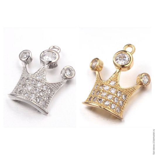 Подвеска Корона с фианитами серебро и золото (Milano) Евгения (Lizzi-stones-2)
