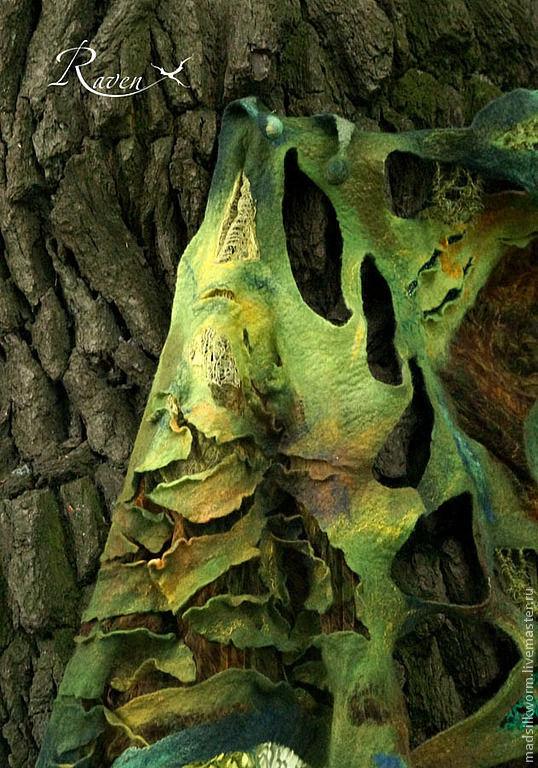 """Шали, палантины ручной работы. Ярмарка Мастеров - ручная работа. Купить шарф палантин """"лес Фангорн"""". Handmade. Вышивка бисером"""