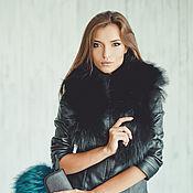 Аксессуары handmade. Livemaster - original item Raccoon fur scarf in black. Handmade.