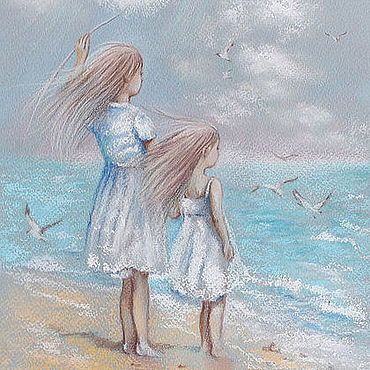 Картины и панно ручной работы. Ярмарка Мастеров - ручная работа Две сестры и море. Handmade.