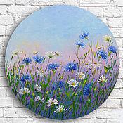Картины и панно handmade. Livemaster - original item Picture of cornflowers, Daisies Large Round Oil Painting. Handmade.